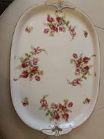 Rózsás porcelán tál, kínáló, tálca. Sütemény, kávé, tea, desszertek, húsók tálalására, dekornak is