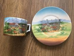 Régi Tátrafüredi látképes porcelán teás csésze+alj