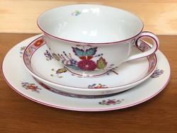 Antik Herendi Apponyi Fleur reggeliző szett - teás csésze +alj és kistányér, 1944