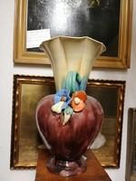 Nagy méretű KOMLÓS kerámia váza. Virággal díszezve. Ritka!