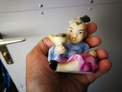 Herendi Japán kislány madárral porcelán szobor