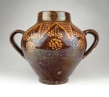 1A683 Régi barna mázas cserép váza 18.5 cm