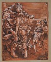 Wilhelm Wohlgemuth (1870-1942) Táncoló állatok, Szatirikus jelenet, akvarell és tus papíron