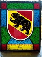 Színes ólom üveg kép - város címerek -  Bern, Zürich, Solothurn, Winterthur  4 db láncon