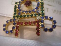 Zafír,rubint,smaragd színű ékkövekkel,hibátlan bross ritkaság hibátlan ajándékozható