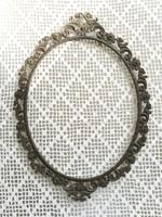 Vintage fém ovális képkeret szecessziós jellegű növénymintás régi tükörkeret