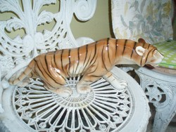 régi Royal Dux porcelán tigris