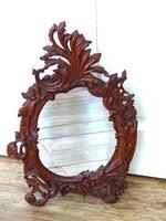 Antik csodaszép faagott tükör asztali tükör Méret:45×31cm
