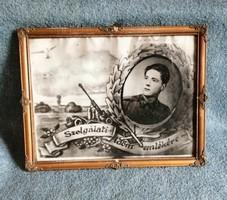 Katonai emlék : Szolgálati Időm Emlékére régi üvegezett blondel képkeretben 33,5*43,5 cm