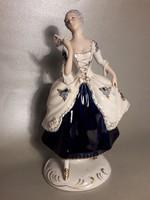 RITKA Antik - ROYAL DUX -  barokk hölgy legyezővel jelzett, eredeti porcelán szobor, figura