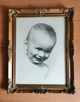 Antik üvegezett blondel képkeret  régi baba fotóval 36,5*46,5 cm