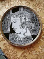Kézzel aranyozott Hollóházi porcelán fali tányér 20 cm