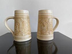 Antik Old Ivory Zsolnay Korsó Pár