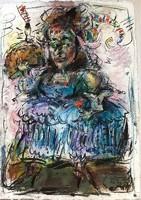 Tóth Ernő - Madame 60 x 45 cm olaj, merített papír