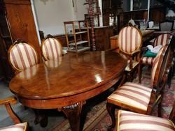 Neobarokk asztal 6db székkel