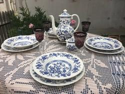 Meisseni Blue Onion angol hagymamintás étkészlet kiöntővel 4sz