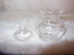 Üveg - gravírozott -  amfóra - cukorka tartó - 10 x 7 cm - hibátlan