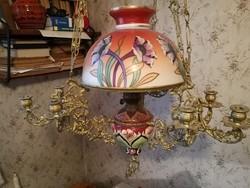 1900-as évek első feléből Budapest Lámpagyár Majolika betétes lüszterlámpa lüszter lámpa csillár