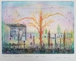 Gross Arnold -  Tordai műterem II. 27 x 37 cm színezett rézkarc