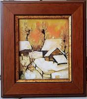*****Fehér Margit: DECEMBERI HAJNAL - tűzzománc festmény, keretezve*****