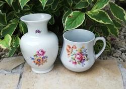 Drasche hasas virágos bögre+ váza , pocakos porcelán bögre, nosztalgia darab.