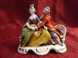 Antik Hummel porcelán figura, szerelmes pár a padon, jelzése GM 582.