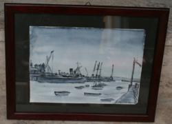 Kikötői akvarell párban