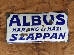 Albus Harang és Háziszappan antik zománc tábla