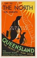Utazási hirdetés, pingvinek bőrönddel, nyaralás Ausztrália, 1935 Vintage/antik plakát reprint