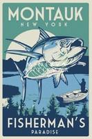 Horgászat, csónak, sügér, tó, Montauk Vintage/antik plakát reprint