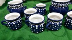 Kék pöttyös Bella kerámia kávés készlet