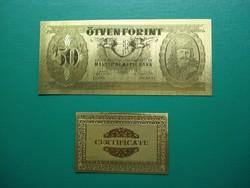 50 forint 1947 Fantázia bankjegy , aranyozott!