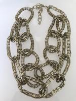 Extravagáns, duplasoros, aranyozott nyaklánc, 60 cm hosszú