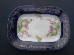 Tálaló tál, vastag porcelán Altwien  jellegű Altrohlau jelzés! Orgona virággal, kobaltkék szé.