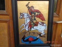 Sárkányölő Szent György üveg ikon fa keretben 36x27 cm