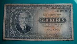 Csehszlovákia, 100 korun bankjegy (DN) - 1945