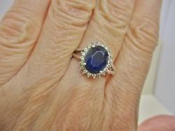 Csodás régi nagyon sötétkék zafírral ezüst gyűrű márkajelzett