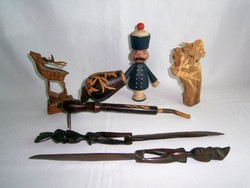 6 db retro, kézzel készült fa dísztárgy: pipa, bábuk, faragott kések