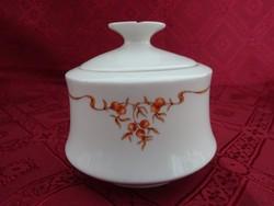 Alföldi porcelán, csipkebogyó mintás cukortartó, magassága 10 cm.
