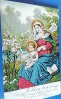 Aranyozott, dombornyomott karácsonyi képeslap 1904-bol