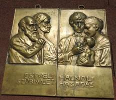 Sződy Szilárd bronz relief pár _Estveli szürkület - Hajnal hasadás