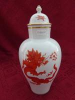 Antik meisseni porcelán fedeles váza, sárkány motívummal. 25 cm magas.