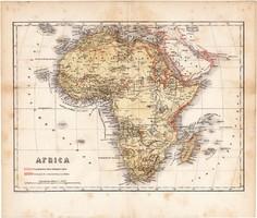 Afrika térkép 1871, lexikon melléklet, német nyelvű, eredeti, 24 x 18 cm, Szahara, Nílus, Egyiptom