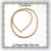 Valódi bőr nyaklánc 925-ös sterling ezüst kapoccsal SL-EB03-45 világos barna