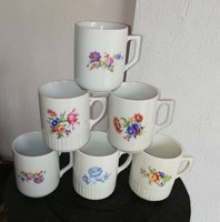 6 db Zsolnay virágos bögre, bögrék, Bögre Gyűjtemény, Nosztalgia darab, paraszti dekoráció