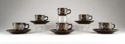 1A988 Régi virágdíszes barna Városlődi kerámia kávéskészlet