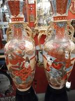 Kínai  nagy méretű vázak párba 1920 évek. Kézzel festett. Ritkaság! F-24