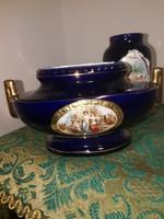 Kobaltkék kerámia váza és kis tál