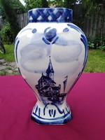 Hatalmas kézzel festett Delft blue porcelán váza ritka darab 24x13 cm a szájánál 6x8 cm
