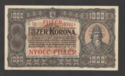 """1000 korona 1923. """"8 FILLÉR"""" Fb.!! Barna sorszámos, nyomat elcsúszással!! EF+++!! RITKA!!"""